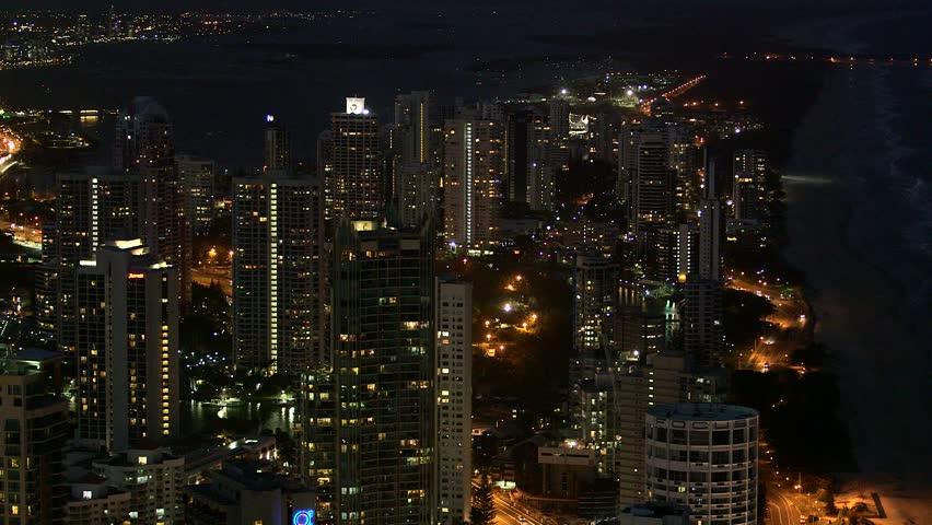 Gold Coast Beach Front City Lights | Shutterstock HD Video #13103627