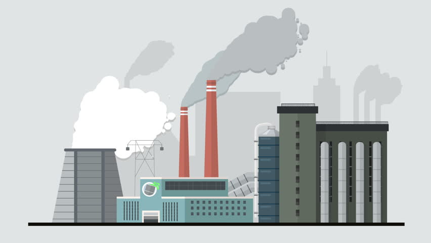 Flat Style Factory Animation Reveal Pollutive Heavy