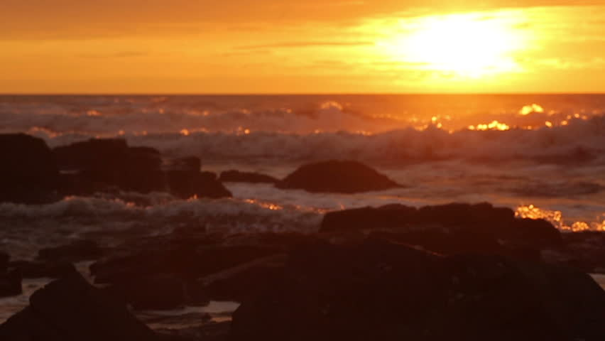 Sunset bright waves in ocean - HD stock footage clip
