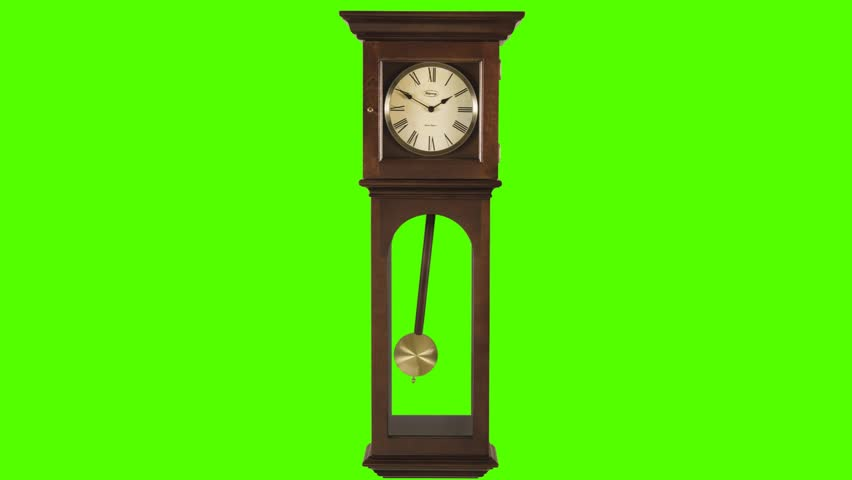 Old Pendulum Grandfather Clock on a Green Screen Background - HD stock video clip
