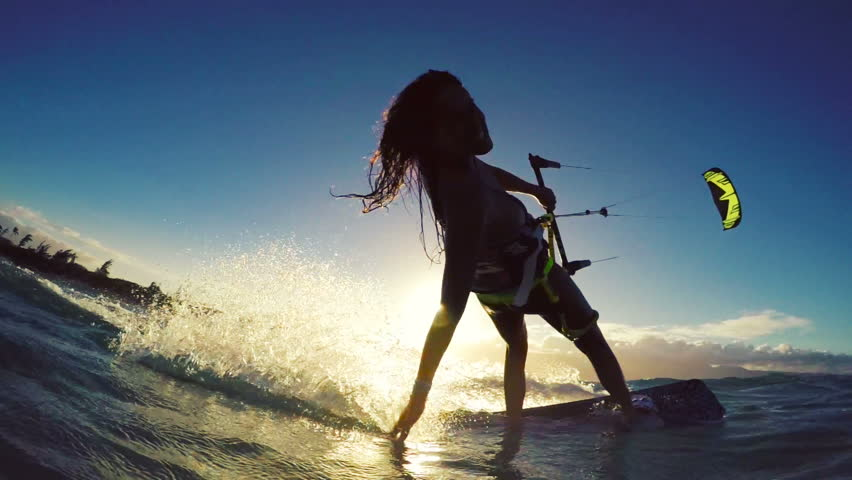 Young Woman Kitesurfing In Ocean In Bikini Extreme Summer