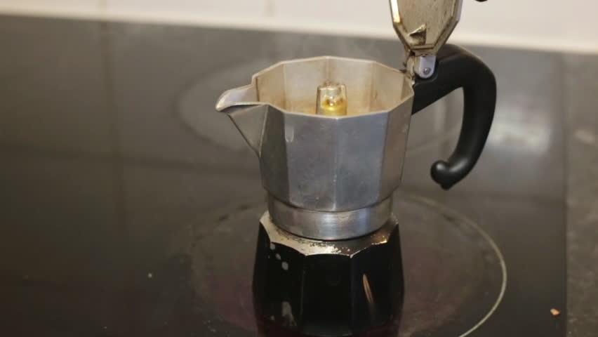 Italian Coffee Maker Induction : Making Black Coffee With Italian Coffeepot Called Moka Pot. Stock Footage Video 11702294 ...
