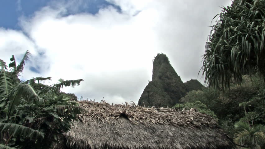Iao Valley in Maui Hawaii. Top of native grass hut in tropical forest. Windy. Famous Needle area covered in rain forest trees and vegetation. Mountains with clouds moving past peak. - HD stock footage clip