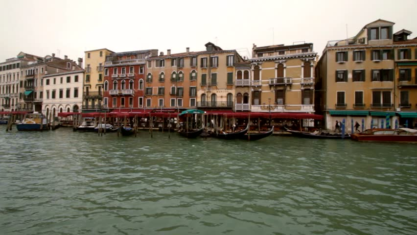 Ride on a boat through venice Canale Grande - HD stock video clip