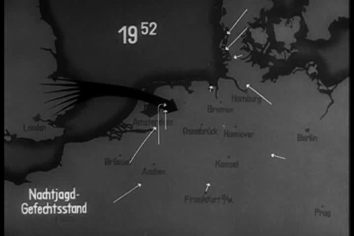 CIRCA 1940s - An animated map shows positions and movements in World War II in Europe in the 1940s.