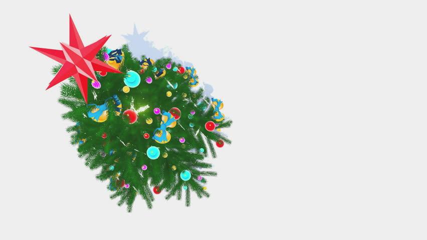 Christmas Tree Rotating On White Background, Seamless