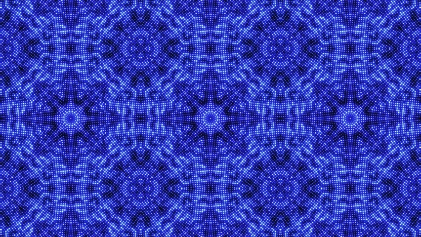 4k Disco Hypnotic Light Centerd Vj Loop Disco Effect: Blue Flower Pattern,orient Fancy Texture Stock Footage