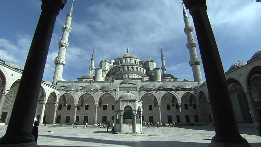Sultan Ahmet Mosque. Blue Mosque in Istanbul. Camera is moving to inside of mosque.  - HD stock video clip