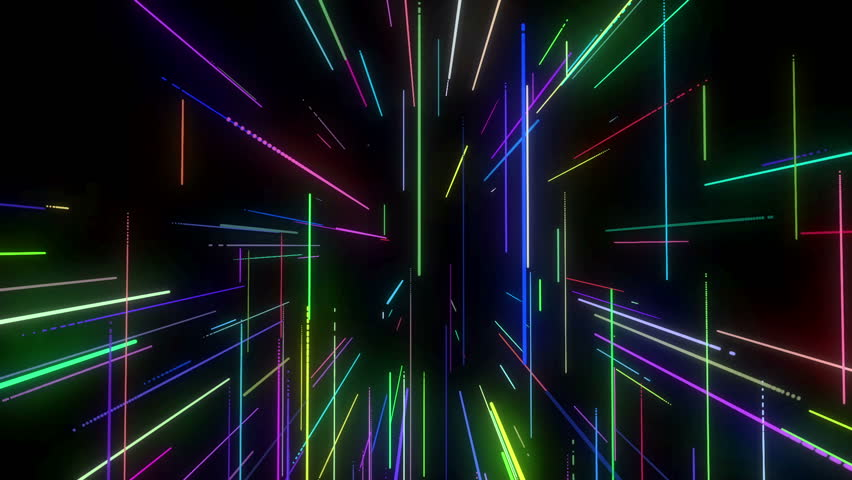 animation of colorful neon disco lasers lights moving in 3d space