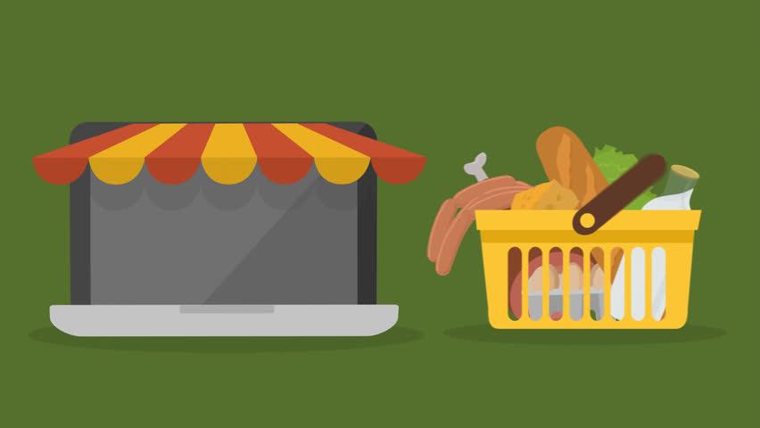 02412 Yellow Plastic Shopping Basket Full Of Groceries Order Online Using Laptop | Shutterstock HD Video #13327754
