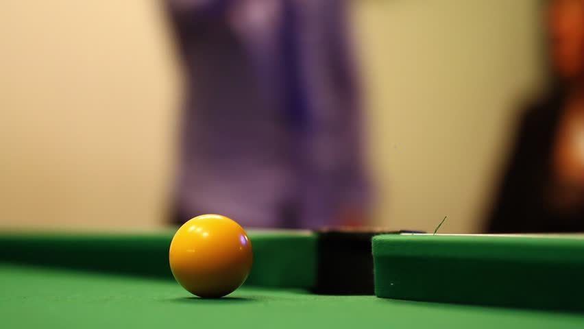 Yellow Ball Shot into Corner Side Pocket, Pool / Billiards Game - HD stock video clip