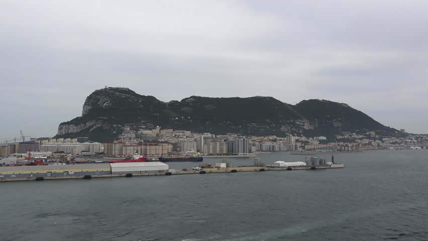 A view of Gibraltar from a departing ship. - 4K stock footage clip