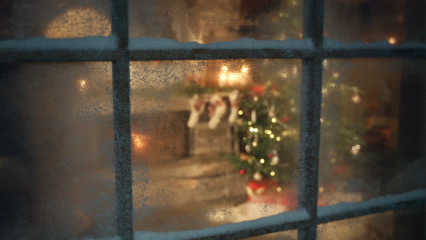 Christmas tree and fireplace scene through frozen window | Shutterstock HD Video #13386461