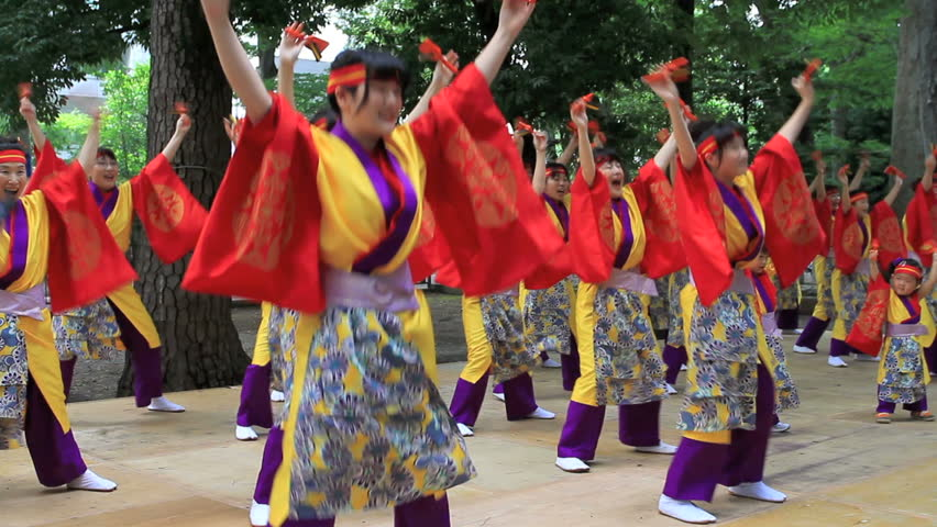 """CHOFU, JAPAN - AUGUST 28: Unidentified dancers perform Japanese traditional dance at the annual  9th Festival """"Yosakoi Matsuri"""" in Chofu, Tokyo on August 28th 2011."""