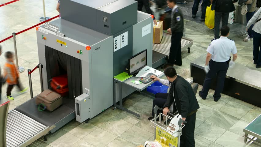 Airport Baggage Handling Scan : Hong kong february  ray scanner at airport