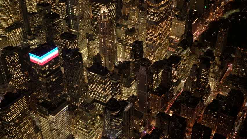 aerial view of new york city skyline at night. high rise real estate buildings background. urban business district blocks