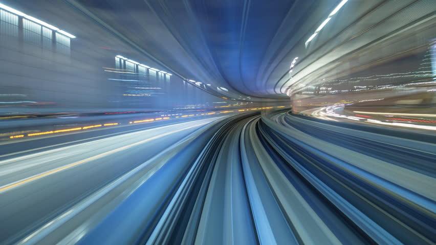 Timelapse of Yurikamome automatic train moving to Odaiba, Tokyo, Japan (4K, UHD)