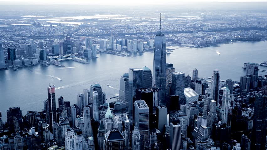 aerial view of giant city metropolis. new york city skyline background. high rise real estate buildings landmarks