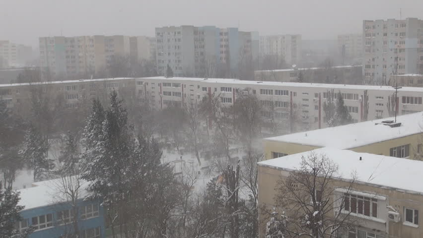 Snowing in Town, City Snow Fall, Christmas Scene, Winter, Blizzard View District - HD stock video clip