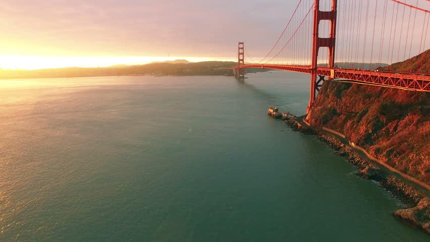 Golden Gate Bridge 4k: 4K Aerial Drone Shot San Francisco Above Golden Gate View