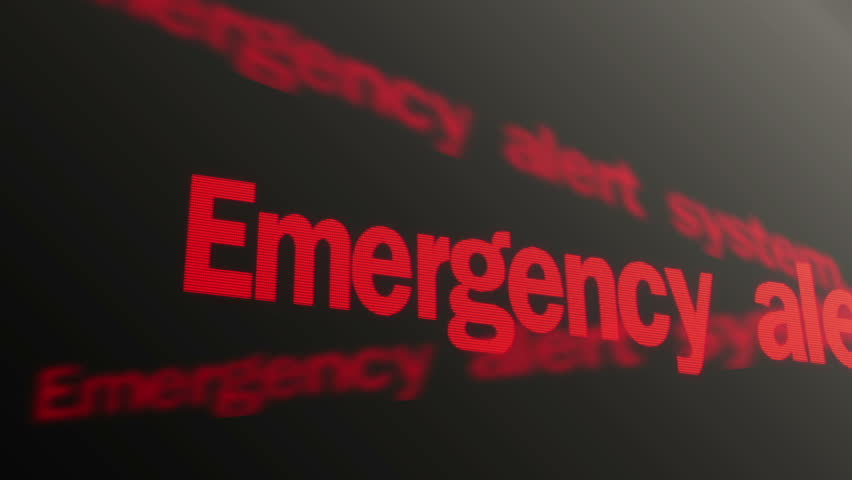 Emergency alert system. Please stand by. Warning red text running on PC display - HD stock video clip
