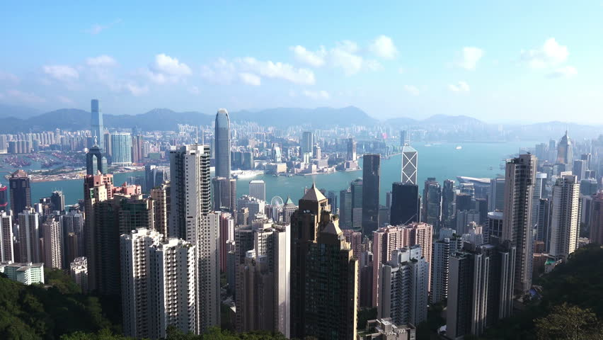4K Aerial Timelapse of Hong Kong from the Peak. 4K Ultra HD 3840x2160 Video Clip