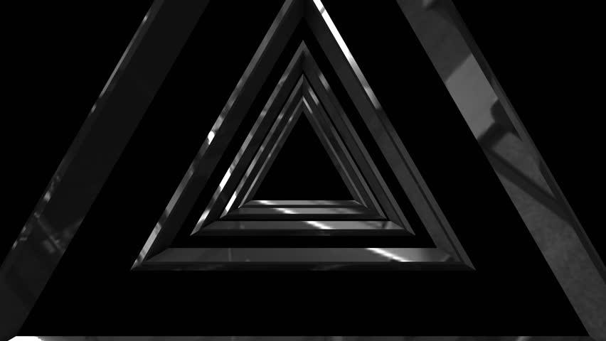 3d metallic triangle tunnel background - 4K stock video clip