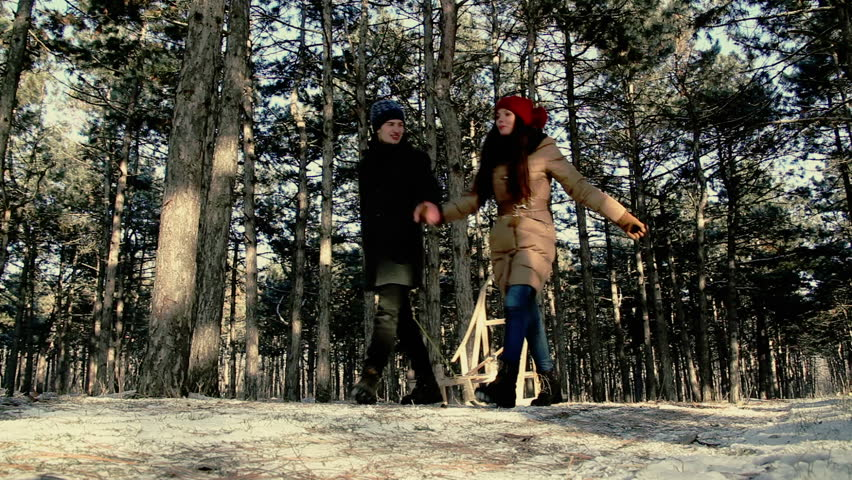Young people are on the winter pine forest. - HD stock footage clip