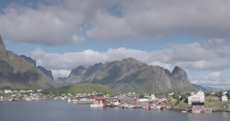view of a fishing village in the lofoten islands, norway