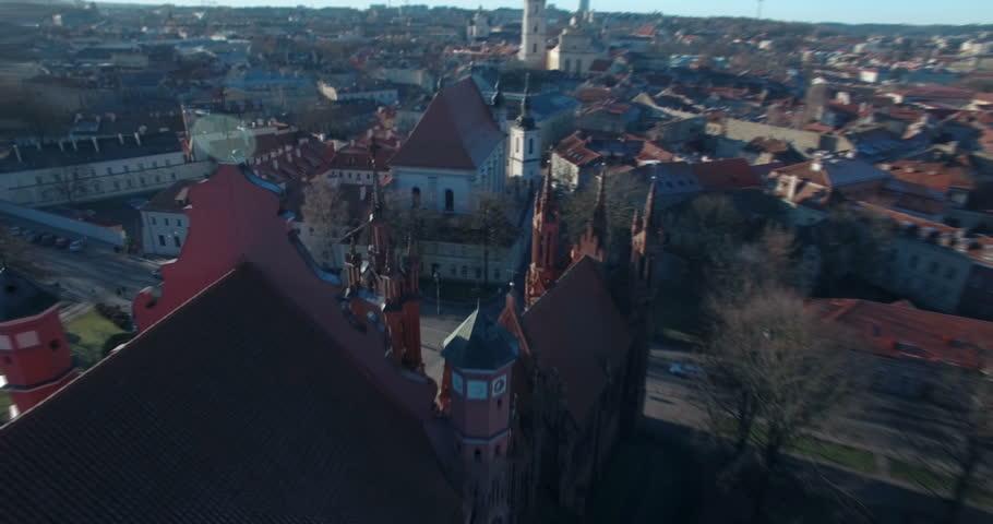 AERIAL. Smooth orbit flight around Church of St. Anne (Onos), Vilnius, Lithuania. 4K
