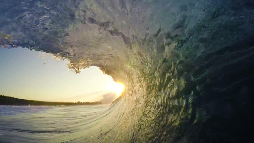 POV Man Surfing Ocean Wave, Extreme Sport HD Slow Motion. Surfer on Blue Ocean Wave Getting Barreled