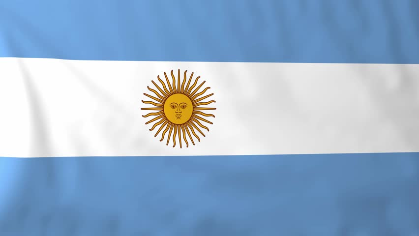 Argentina Flag Waving Against Time-lapse Clouds Background ... Official Argentina Flag