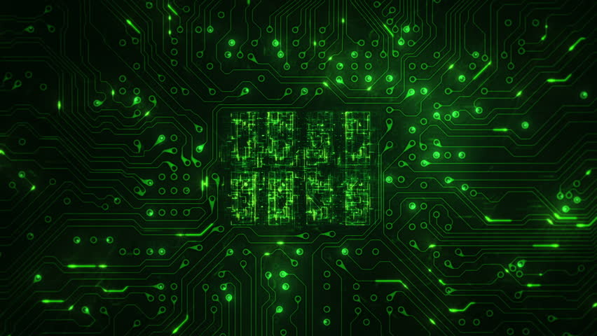 Futuristic circuit board with moving electrons. Dolly in and locked with CPU animation. Loopable. Technology. Green.