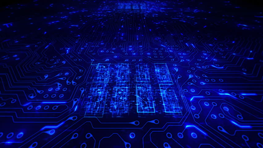 Futuristic circuit board with moving electrons. Loopable. Technology. Blue. 2 videos in 1 file. Dolly in with CPU animation. More color options in my portfolio.   Shutterstock HD Video #13807112