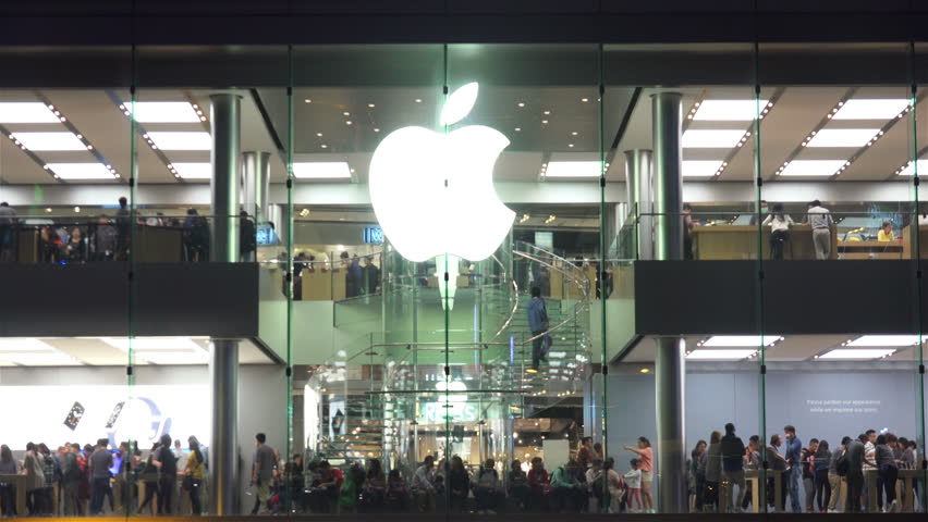 HONG KONG - NOVEMBER 29: Time Lapse of Apple Store in the Downtown. 4K Ultra HD 3840x2160 Video Clip, November 29, 2015 in Hong Kong, China