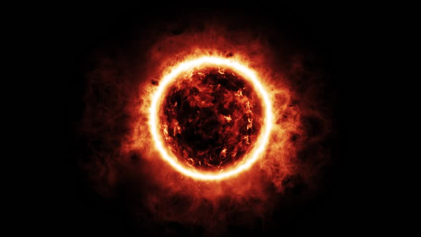 The Sun / Fireball Engulfed in Flames, Slow Zoom Animation