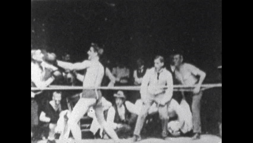 UNITED STATES 1900s: Boxers Fight in Ring - HD stock video clip
