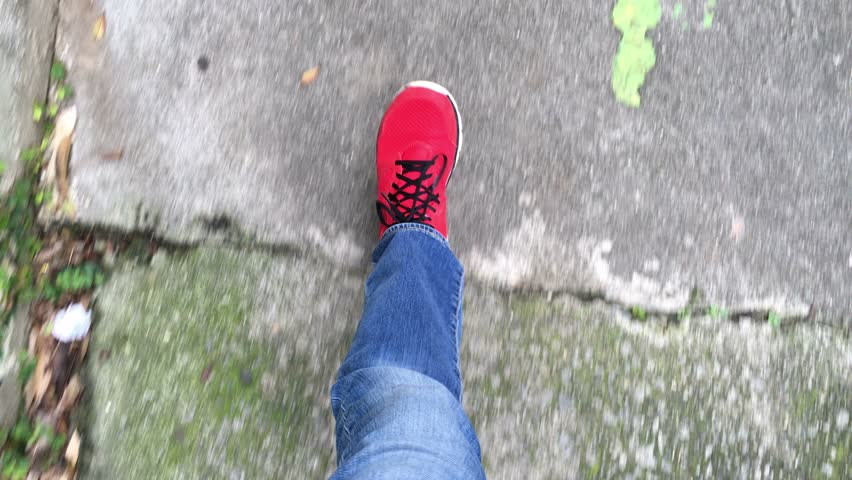 Man POV walking and wearing RED shoes.  #13867106