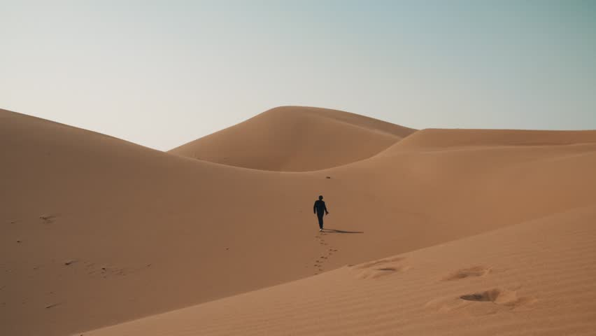 Desert sand dunes with a person walking into the horizon  - HD stock footage clip