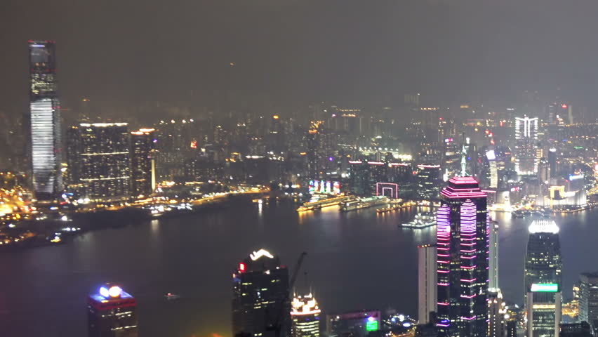Timelapse in Motion of Hong Kong at Night. Full HD 1920x1080 Video Clip | Shutterstock HD Video #13945667