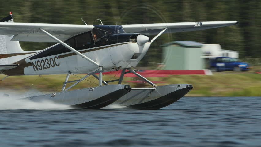 Fairbanks, Alaska, USA - JULY 2015. The Float Plane Takes Off In Fairbanks International Airport. Canon C300. - HD stock footage clip