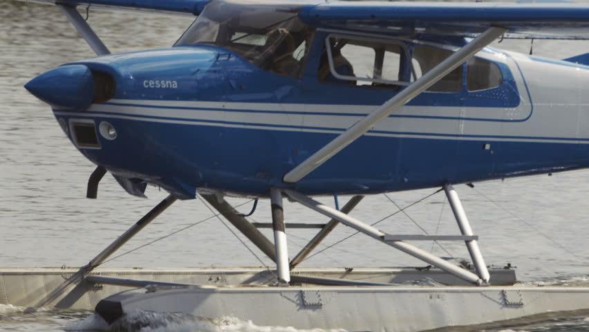 Fairbanks, Alaska, USA - JULY 2015. Float Plane Before Taking Off In Fairbanks International Airport. Canon C300. - HD stock footage clip