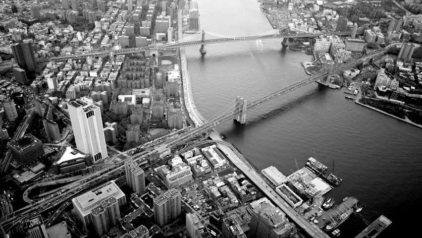 Breathtaking aerial establishment shot of city skyline. black and white metropolis background  | Shutterstock HD Video #13995482