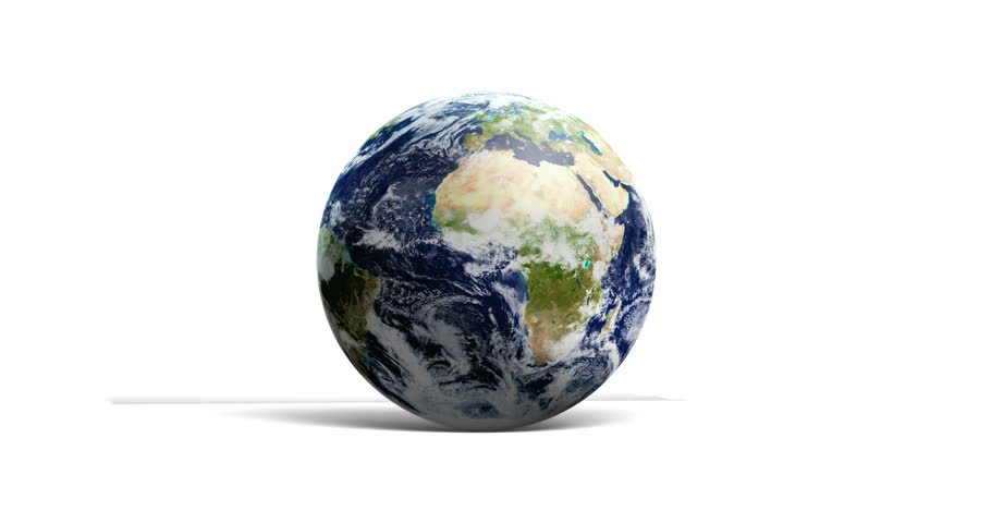 Loopable Spinning Globe Against White in 4 K. Earth animation of spinning blue globe with copy space against white. Loop-ready file in 4 K resolution. World map courtesy of NASA. - 4K stock video clip