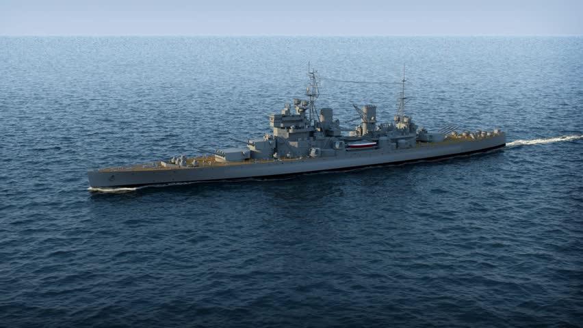 battleship in the ocean - HD stock footage clip
