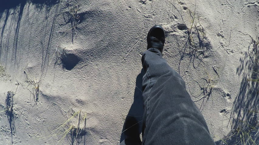 KELSO, CA/USA - January 15, 2016: High angle overhead shot of the legs and feet of a hiker in a sandy desert. Point of view of sandy desert floor while walking. | Shutterstock HD Video #14054252