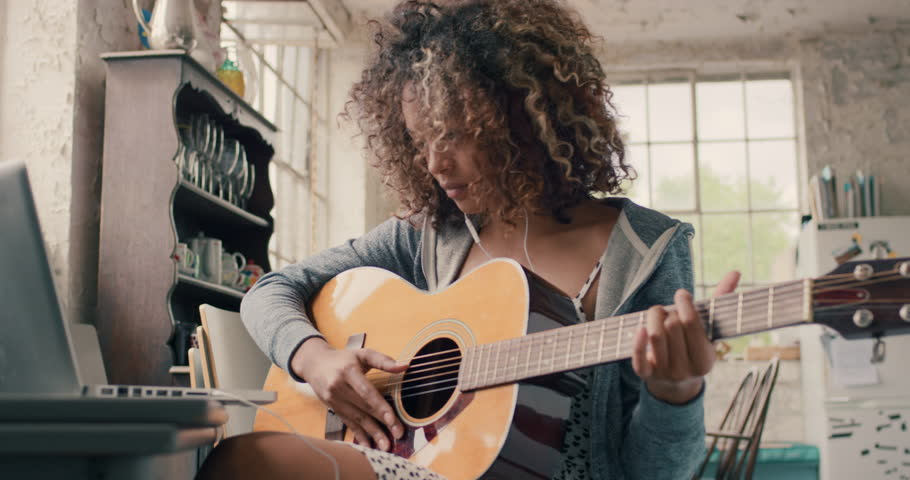 Teen Girl Playing Guitar Stock Footage Video 3358688