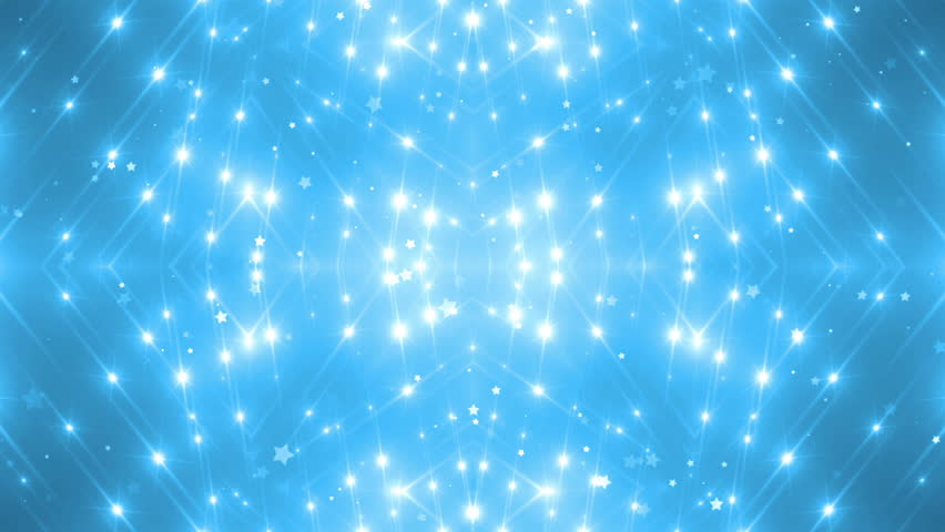 VJ Fractal blue kaleidoscopic background.Disco spectrum lights concert spot bulb. Abstract background with stars and particles for use with music videos. VJ Loops animation. - HD stock video clip