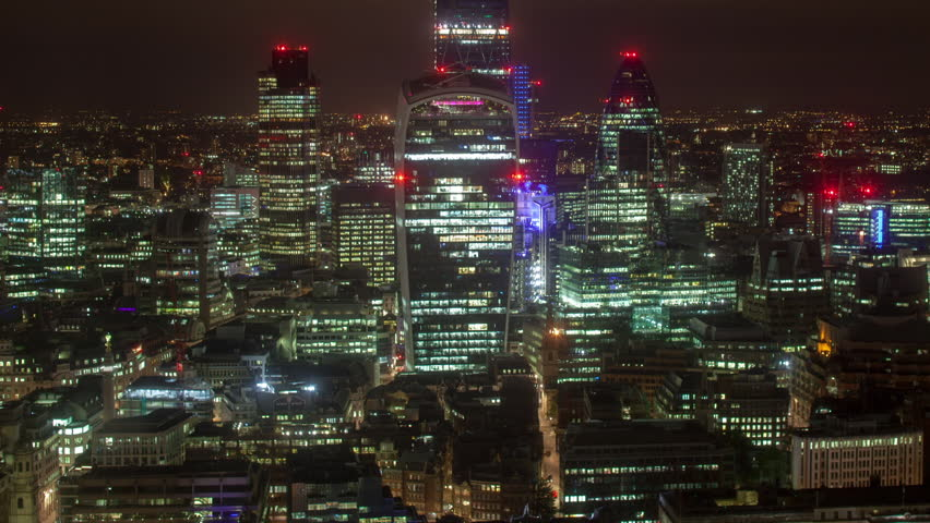 Night timelapse view of amazing london skyline from a unique high vantage point | Shutterstock HD Video #14099126
