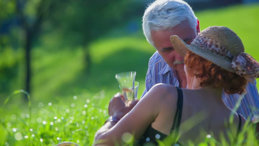 Happy old couple in love toasting on a great place in the middle of beautiful green nature on countryside. | Shutterstock HD Video #14118602